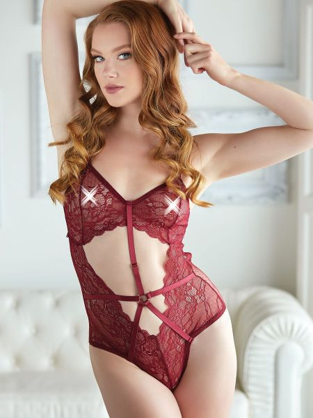 Allure Gisèle: Spitzen-Body, burgundy