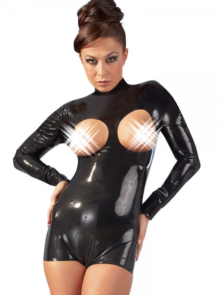 Latex-Ouvertbody, schwarz