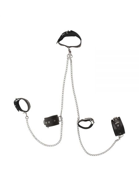 Leder-Körperfessel mit Ketten, schwarz