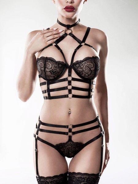 Grey Velvet 15231: Harness-Dessousset 2-teilig, schwarz