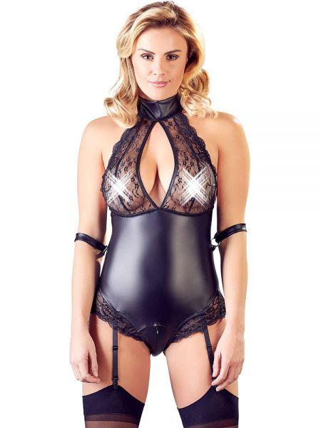 Mattlook-Spitzen-Body, schwarz