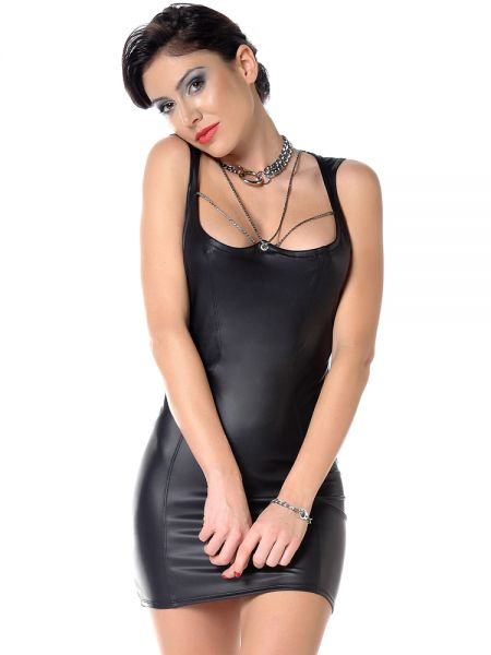 Patrice Catanzaro Viki: Wetlook-Minikleid, schwarz