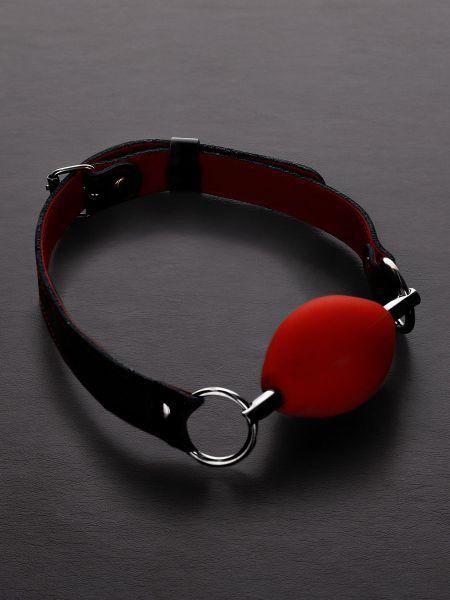 Triune Oval Silicone Ball Gag: Ballknebel, rot/schwarz