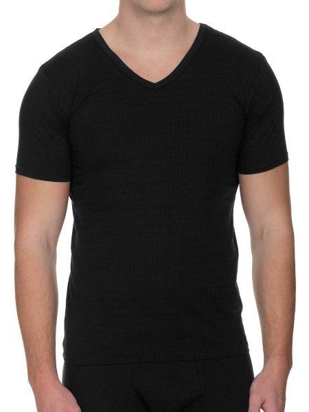Bruno Banani Check Line 2.0: V-Neck-Shirt, schwarz