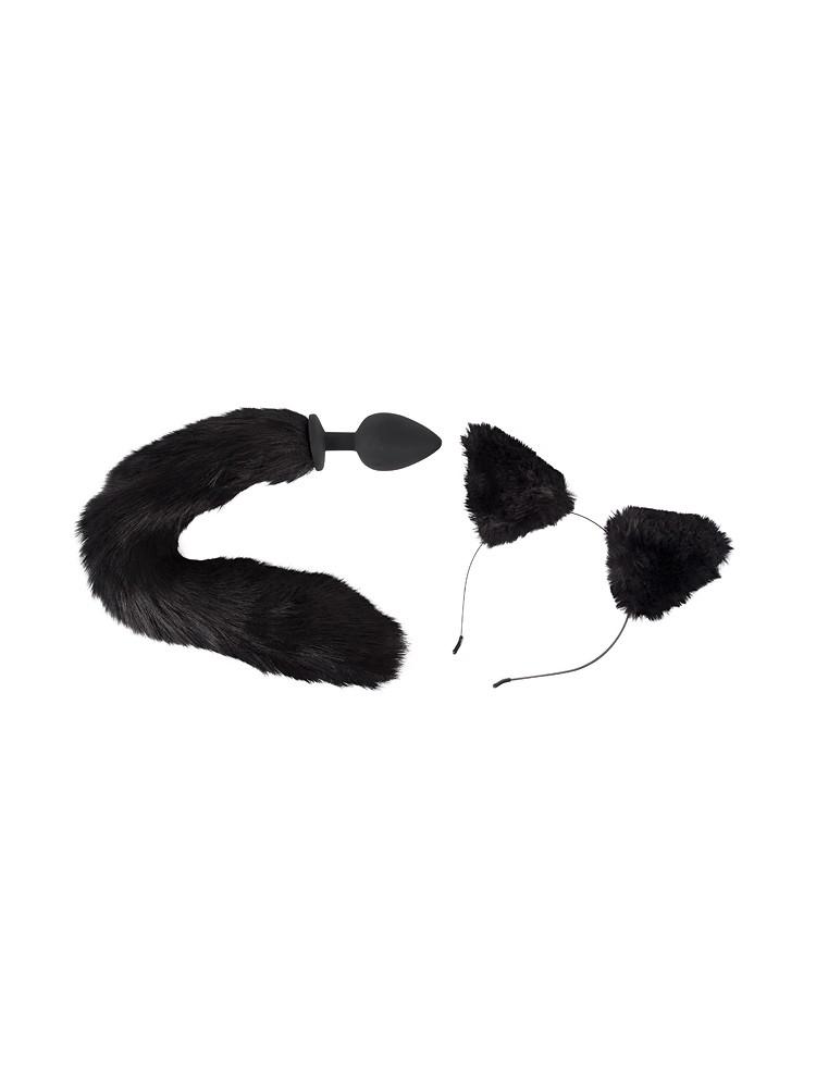 Bad Kitty Pet Play Plug & Ears: Analplug und Plüschohren, schwarz