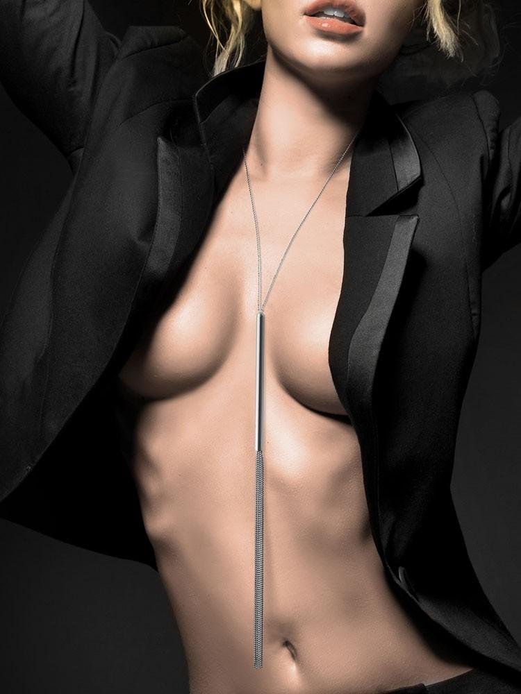 Bijoux Indiscrets The Magnifique: Halskette mit Minipeitsche, silber