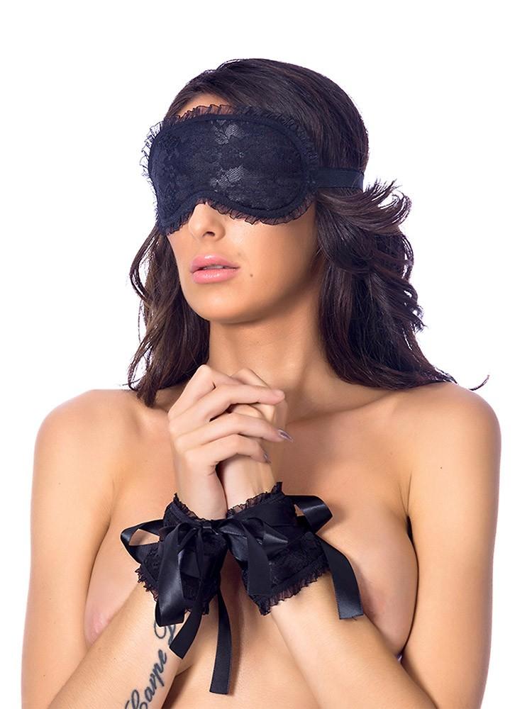 Rimba Satin-Handfesseln und Maske, schwarz