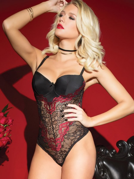 Coquette Stringbody: Rose Marsala, schwarz/rot