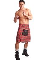 Highlander-Kilt, rot kariert