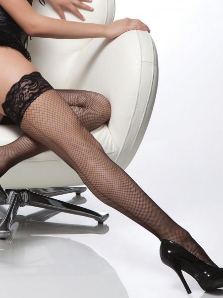 Coquette: Halterlose Naht-Netzstrümpfe, schwarz
