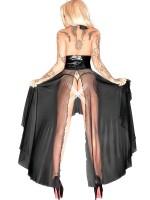 Noir Handmade: Netz-Lack-Abendkleid, schwarz