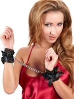 Strass-Handfesseln, schwarz/metallic