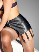 Leder-Strapsgürtel, schwarz
