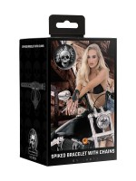 Ouch! Skulls and Bones Spiked Bracelet with Chains: Armband, schwarz