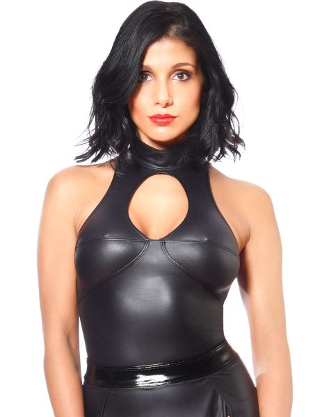Patrice Catanzaro Kate: Wetlook-Top, schwarz