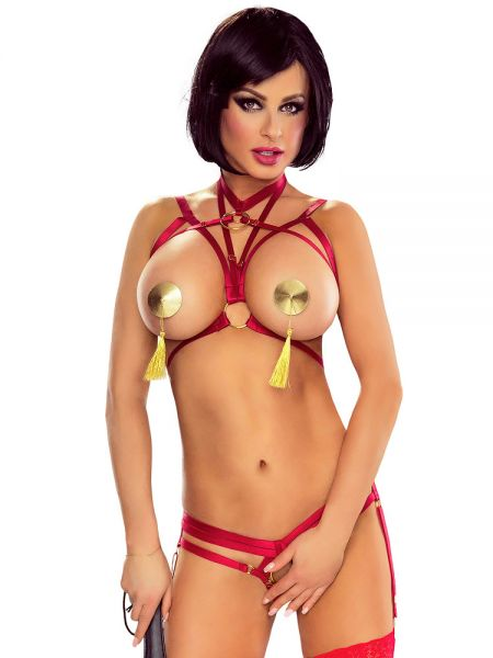 Provocative Harness Ouvert Bra: Harness-BH, rot