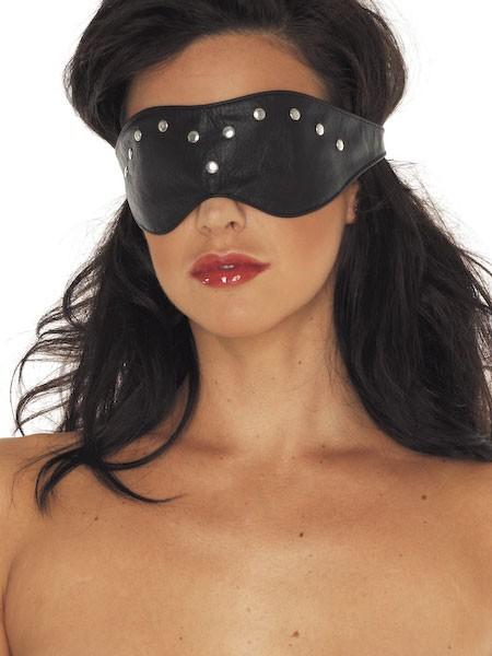Leder-Augenmaske mit Nieten, schwarz