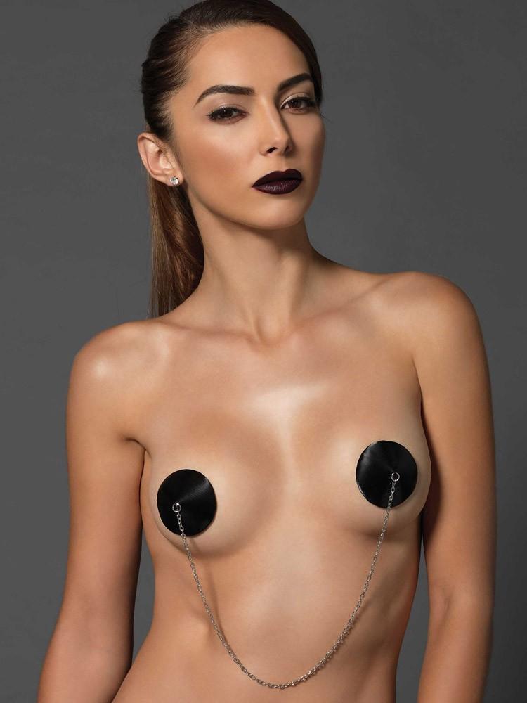 KINK: Nipple Tassels mit Kette, schwarz/silber