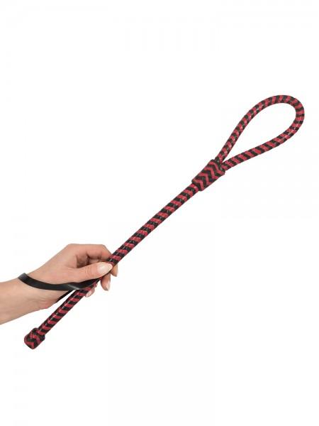 Leder-Peitschenstick, schwarz/rot