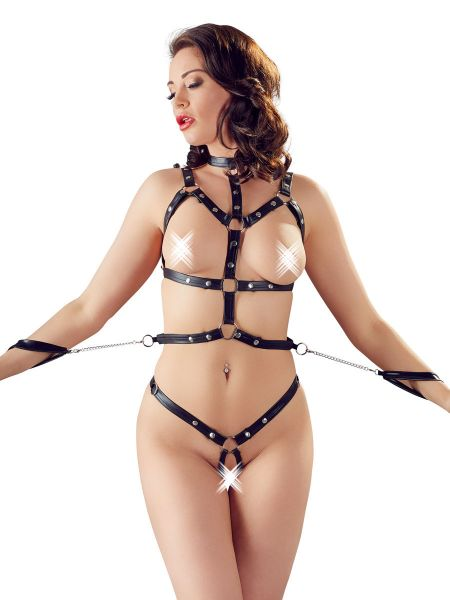 Bad Kitty: Bondage-Harness-Set, schwarz