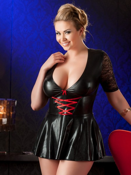 Wetlook-Minikleid, schwarz/rot