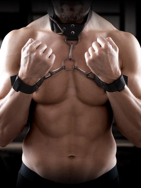 Sir Richards Command Cuff & Collar Set: Hals- und Handfesseln, schwarz