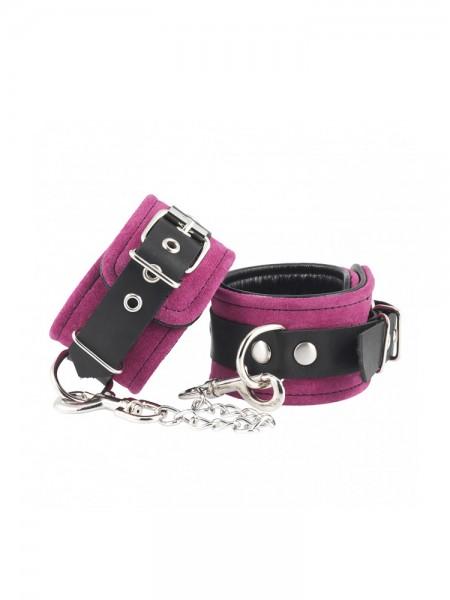 Velourleder-Handfesseln, pink