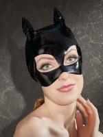 Lack-Katzenmaske, schwarz