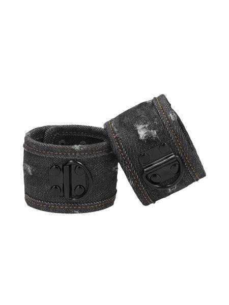 Ouch! Denim Ankle Cuffs: Fussfesseln, jeans-schwarz