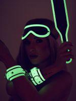 Bad Kitty Fetish Set Glow in the Dark. Nachtleuchtendes Fesselset, weiß/grün