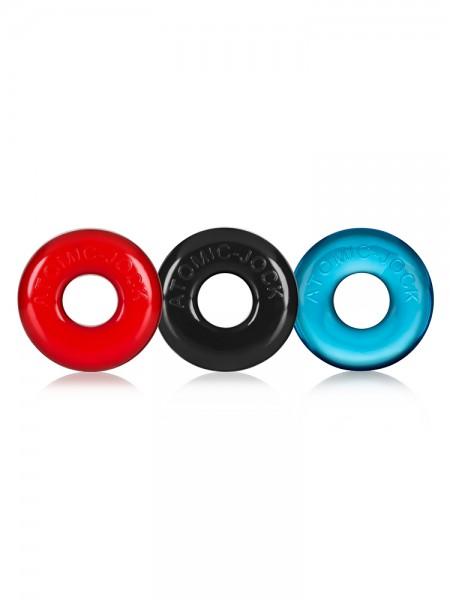 Ringer Cock Ring: Penisringe-Set, schwarz/rot/blau