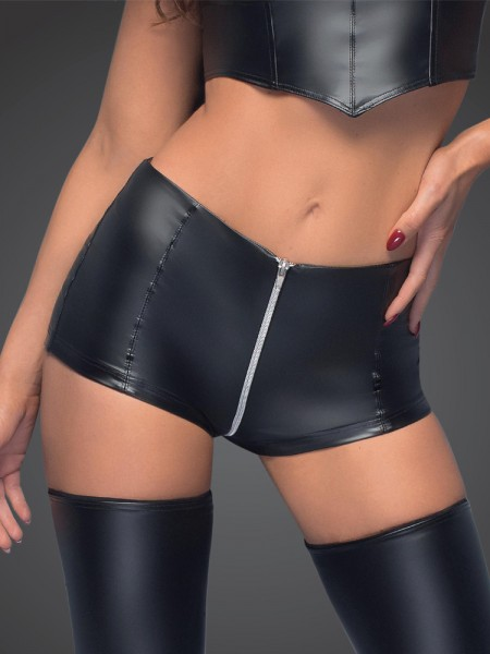 Noir Handmade: Wetlook-Zip-Shorty F164, schwarz