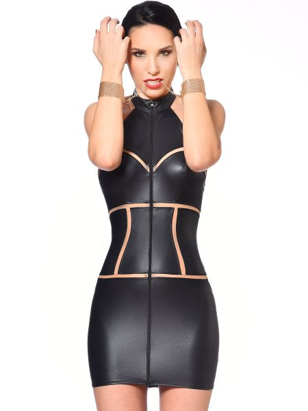 Patrice Catanzaro Kasia: Wetlook-Minikleid, schwarz
