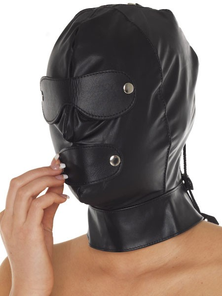 Leder-Maske mit Augen-/Mundklappen, schwarz