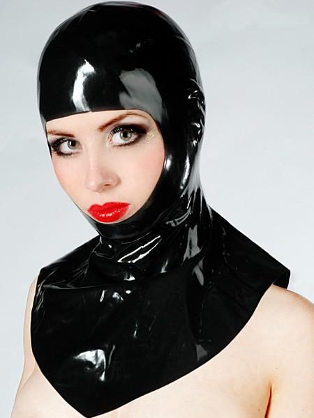 Latexhaube mit Kragen, schwarz
