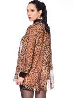 Patrice Catanzaro Emilia: Chiffon-Bluse, leopard/schwarz