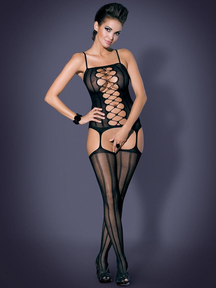 Obsessive G300: Straps-Catsuit, schwarz