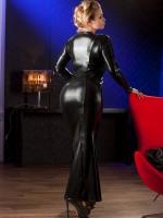 Wetlook-Abendkleid, schwarz