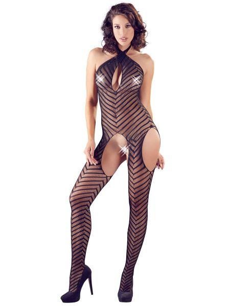 Streifen-Catsuit, schwarz