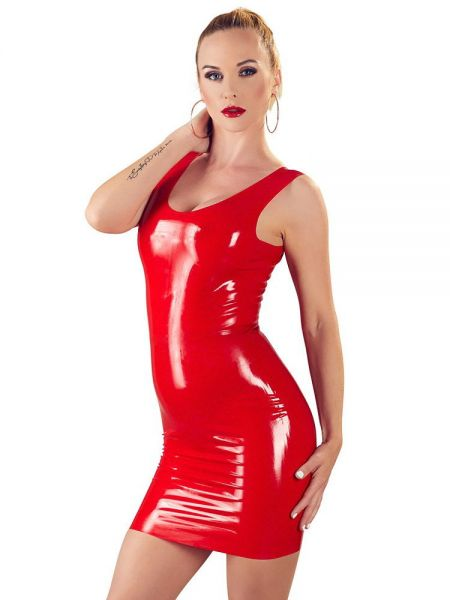 Latex-Minikleid, rot