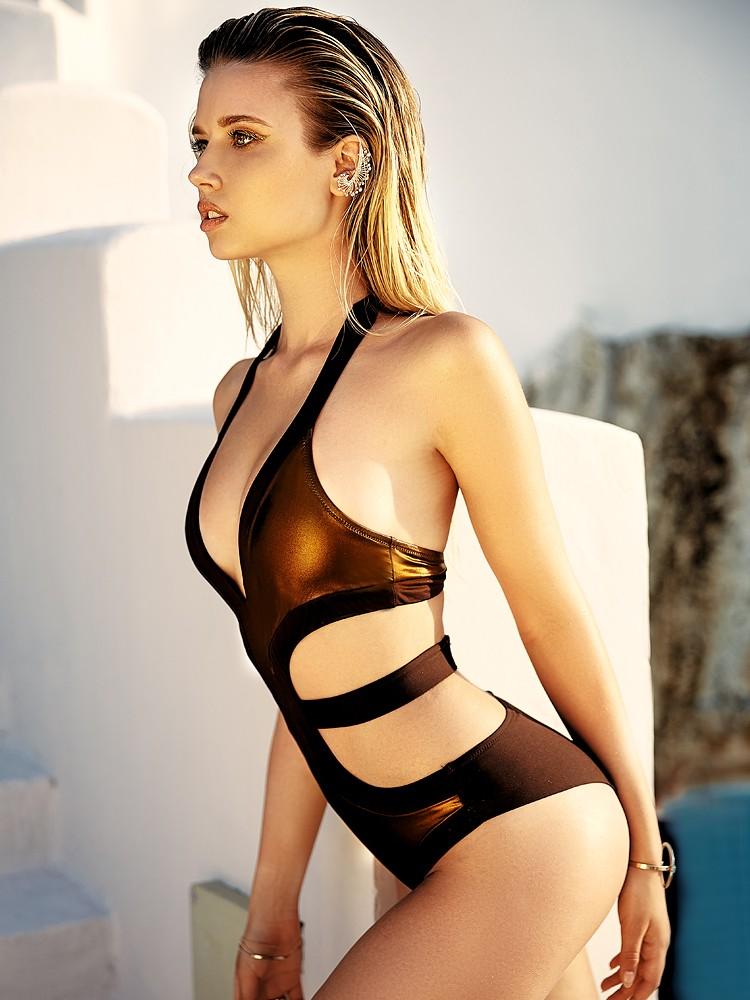 Anabel Arto: Badeanzug, braun/bronze