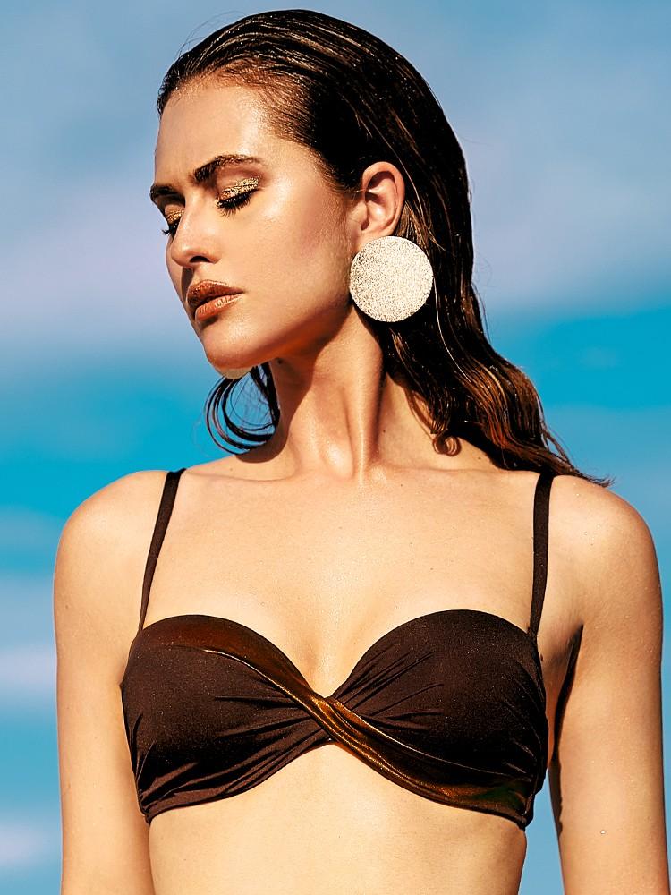 Anabel Arto: Push-Up Bikini Top, braun/bronze