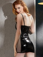 Lack-Minikleid mit Netz, schwarz