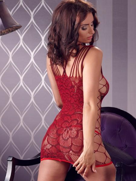 Netz-Minikleid, rot