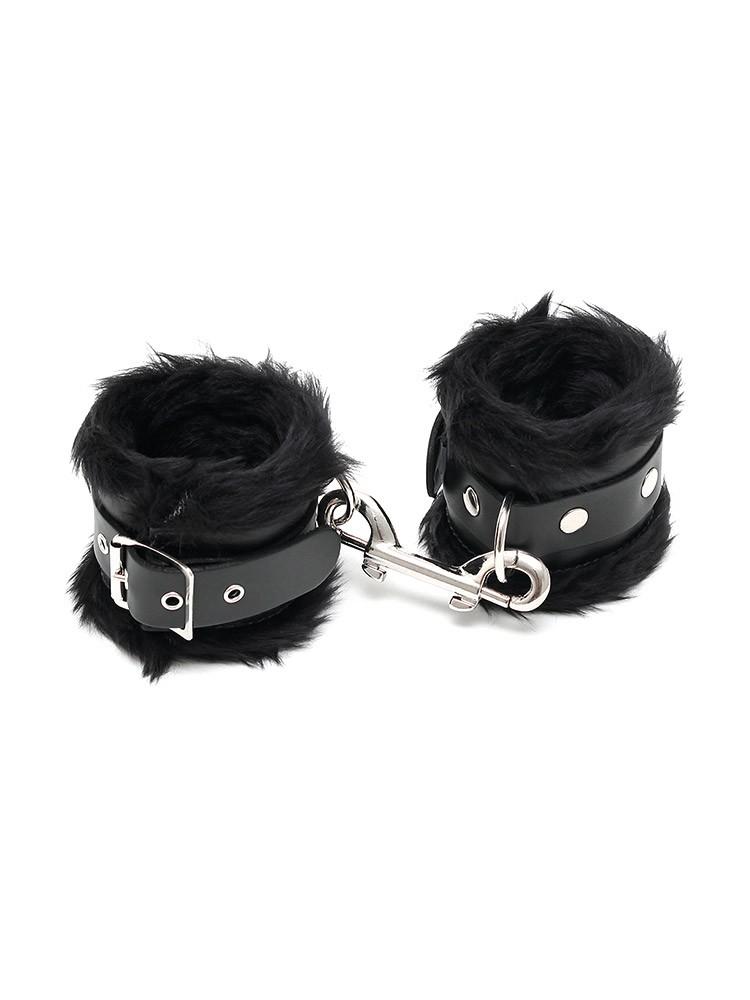 Rimba Leder-Handfesseln mit Plüsch, schwarz