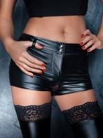 Noir Handmade: Wetlook-Pants, schwarz