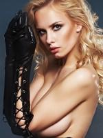 7-Heaven Wetlook-Handschuhe mit Schnürung, schwarz