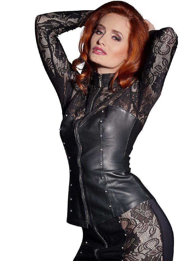 Leder-Jacke mit Spitze, schwarz
