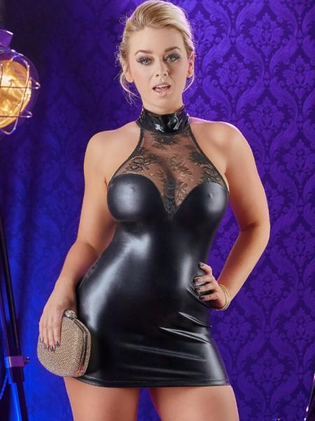 Wetlook-Minikleid mit Spitze, schwarz