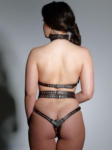 Leder-Harness, schwarz/rot